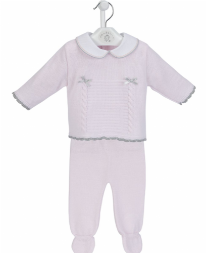 New Arrival Gorgeous Baby Girl Pink Knitted Top and Trousers Grey Ribbon